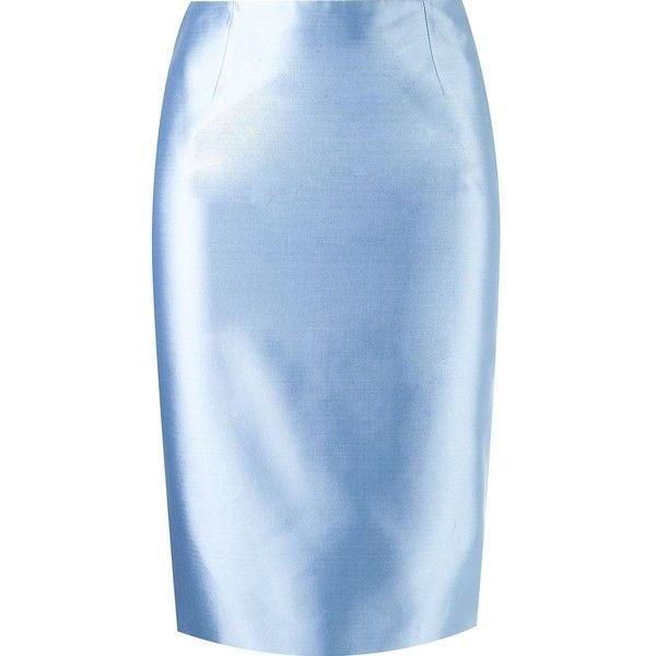Martha Medeiros pencil skirt ($1,155) ❤ liked on Polyvore featuring skirts, blue, bottoms, pencil skirt, martha medeiros, blue pencil skirt, knee length pencil skirt and blue skirts