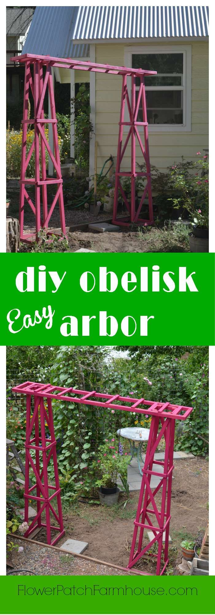 Build yourself this beautiful garden arbor.  Easy and inexpensive, you can have one done in a day.  Paint it any color you like! FlowerPatchFarmhouse.com