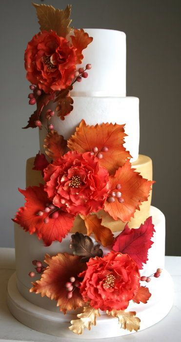 Autumn Leaves Wedding Cake - by flutterby @ http://CakesDecor.com - cake decorating website