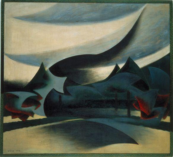Velo di vedova + paesaggio  corazzata + vedova + vento (Giacomo Balla, 1916, MART, Rovereto)