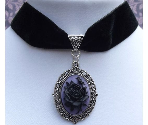 Gothic Victorian Steampunk Black Velvet Rose Lilac Cameo Choker