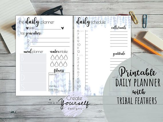 Watercolour tribal feather design printable daily planner available. https://www.etsy.com/listing/546336702/printable-planner-printable-daily