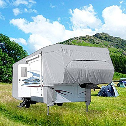 NEH® Waterproof Superior 5th Wheel Toy Hauler RV Motorhome Cover Fits Length 33'-37' New Fifth Wheel Travel Trailer Camper Zippered Panels Heavy Duty 4 Layer Fabric. Buy at http://www.rvandcamper.net/covers.html