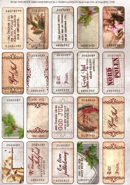 Free download! Vintage Christmas tags.
