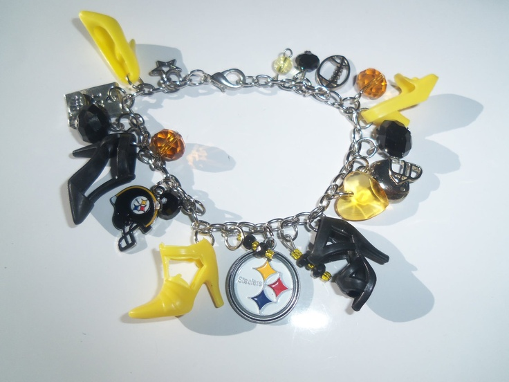 Barbie Shoe Charm Bracelet Yellow and Black w/ PITSBURGH STEELERS charms  / ITEM 3091. $15.00, via Etsy.