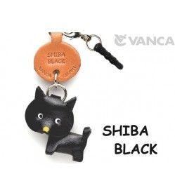 Shiba Black Leather Dog Earphone Jack Accessory
