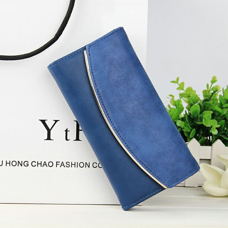 In Autumn 2016 Simple Purse Long Korean Nubuck Leather Stitching Wallet Women's Hand Bag