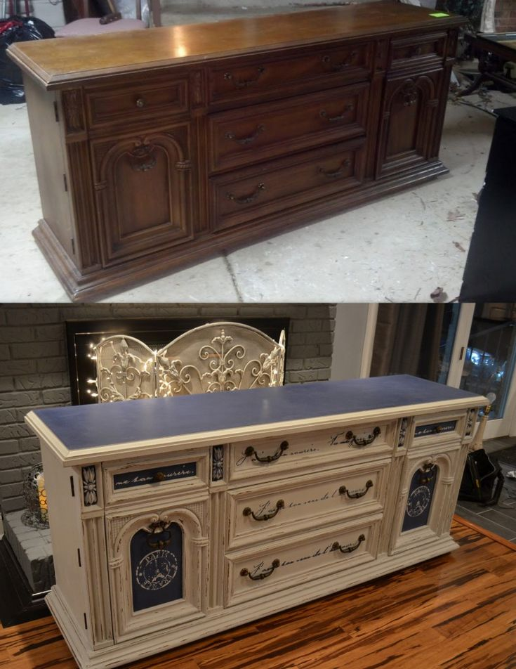 repurposed furniture before and after | Before and After 80's Dresser to Buffet Inspirational