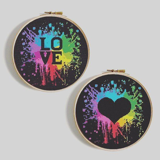 Love cross stitch pattern. Watercolor embroidery sampler. Heart PDF pattern.