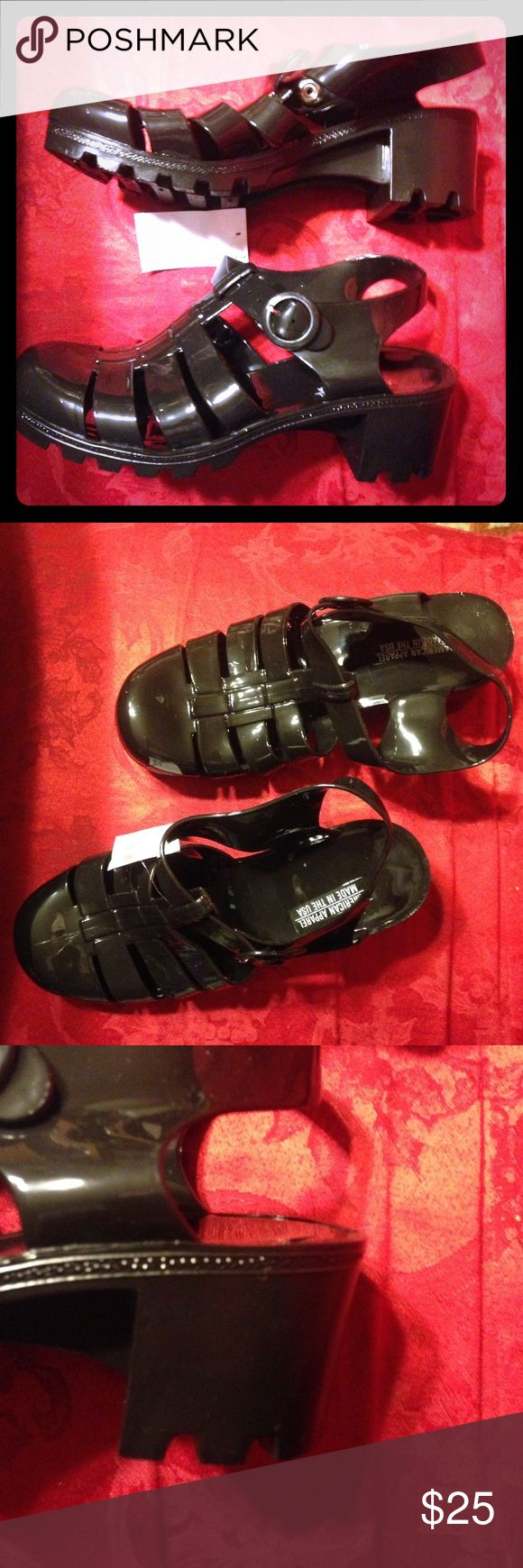 Black jelly sandals american apparel - Nwt American Apparel Woven Jelly Shoes With Heel Nwt