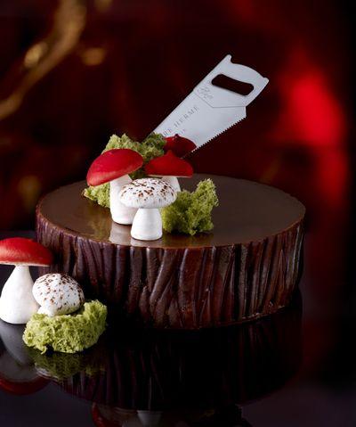 Bûche de Noël á la Campagne by Pierre Hermé. Check out that beautiful, glossy chocolate ganache!