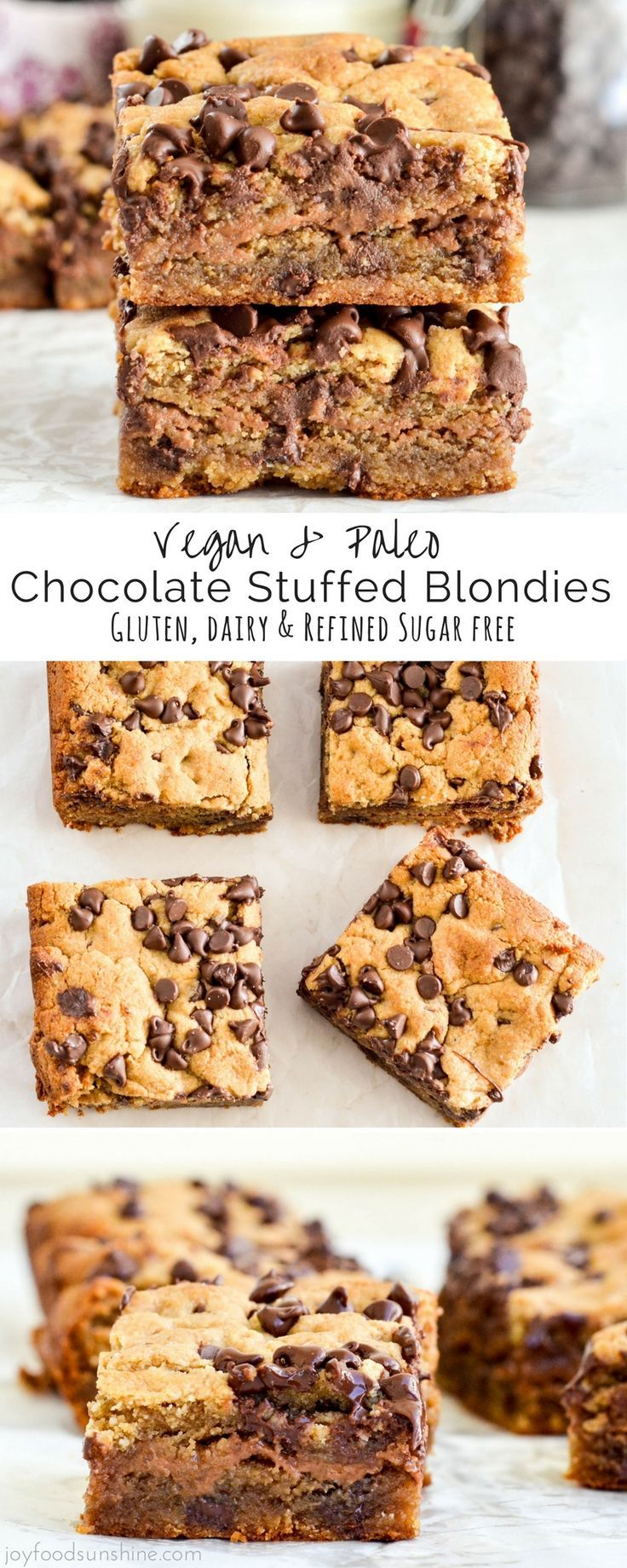 Vegan Chocolate Stuffed Paleo Blondies! These blondies are an easy, healthy dessert that's ready in 30 minutes! Gluten-free, dairy-free & refined sugar free!