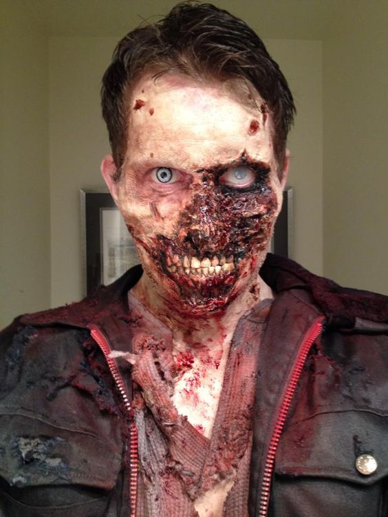 Zombie make up. Looks like one of the zombies in the Resident Evil game....
