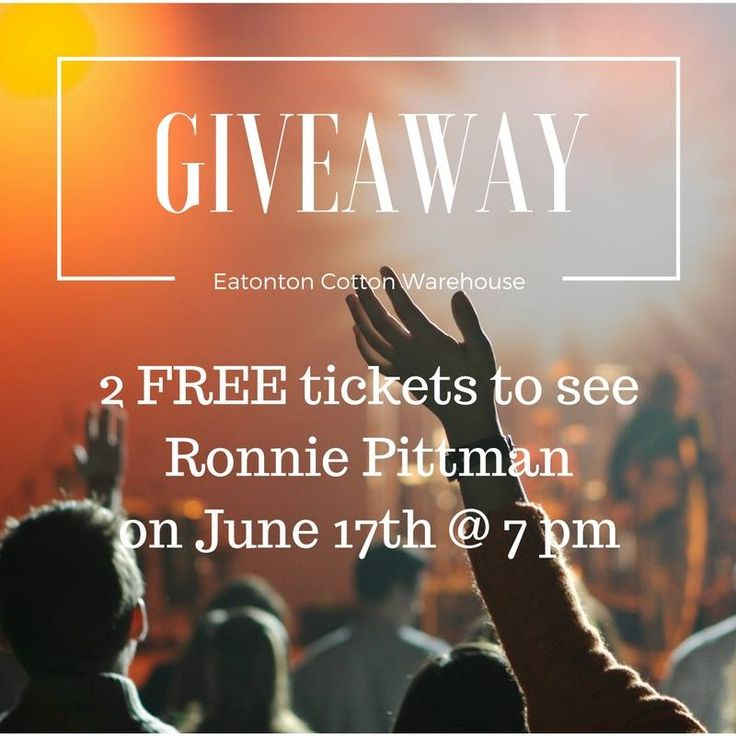 Click on the link below and follow the instructions for your chance to win 2 FREE concert tickets to see Ronnie Pittman at the Eatoton Cotton Warehouse!