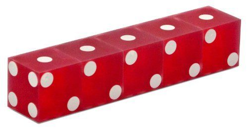 Casino Red Dice - Sanded Finish (Stick of 5) by CSC. $12.85. Precision quality discounted 3/4 inch Casino Dice Translucent Sanded Finish Red (Stick of 5) are accurate to .0001. Translucent sanded finish with razor sharp edges.  These dice have a frosted appearance.  Our dice are manufactured under strict security controls from high quality plastic material that is free from defects.  The spots on their faces are made flush to ensure there is no imbalance on the dice.