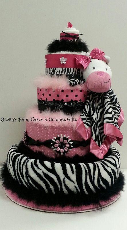 Pink Zebra Diaper Cake Baby Girl Diaper by BeckysBabyCakesandUn, $129.99