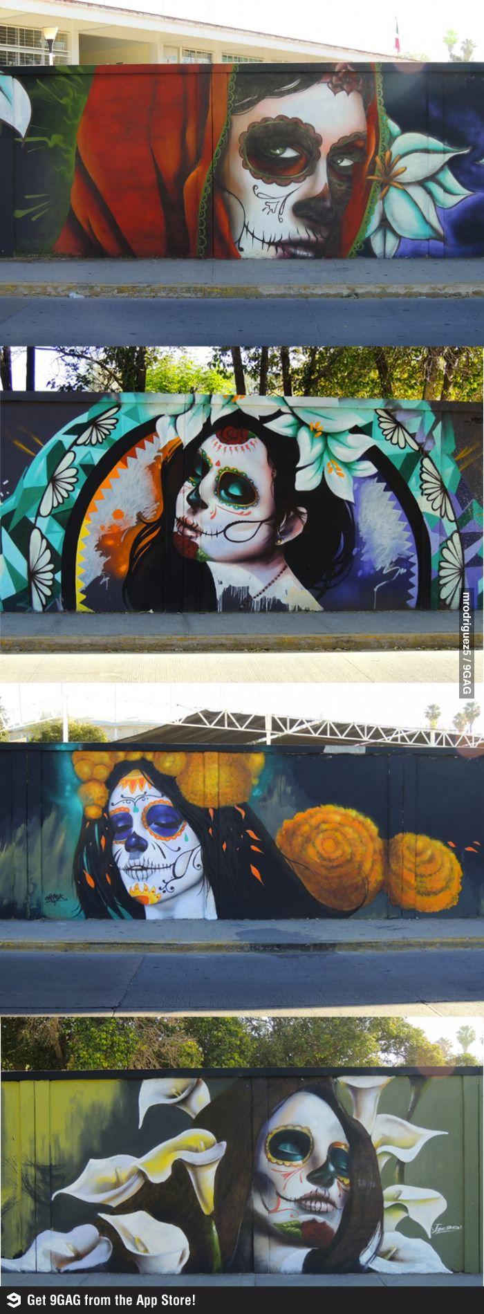 Estas pinturas fueron hechas en Aguascalientes para celebrar el día de muertos.