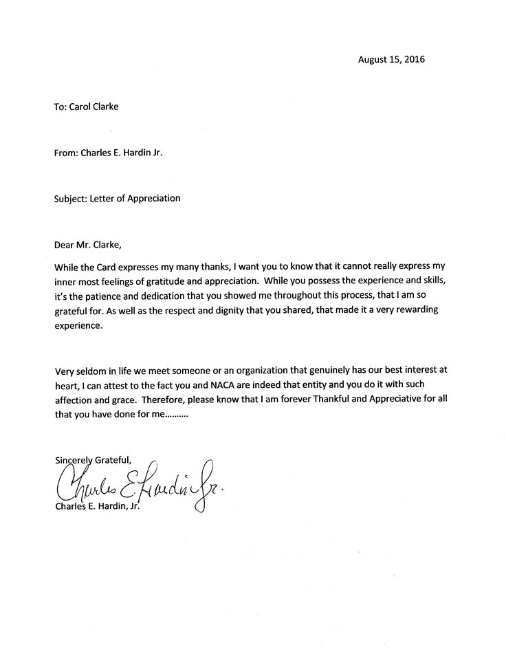 A Wonderful Letter Recently Received In Our Charlotte Office