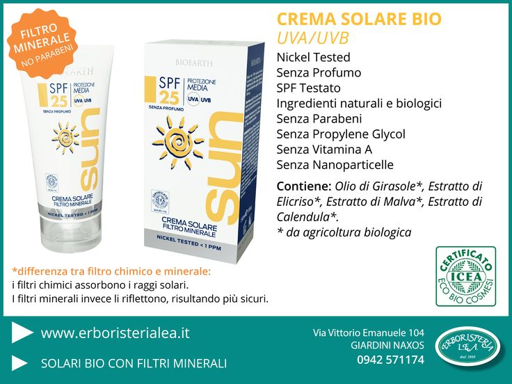 Crema solare BIO Con Filtro Minerale #estate #protezionesolare #biologico #senzaparabeni > www.erboristerialea.it