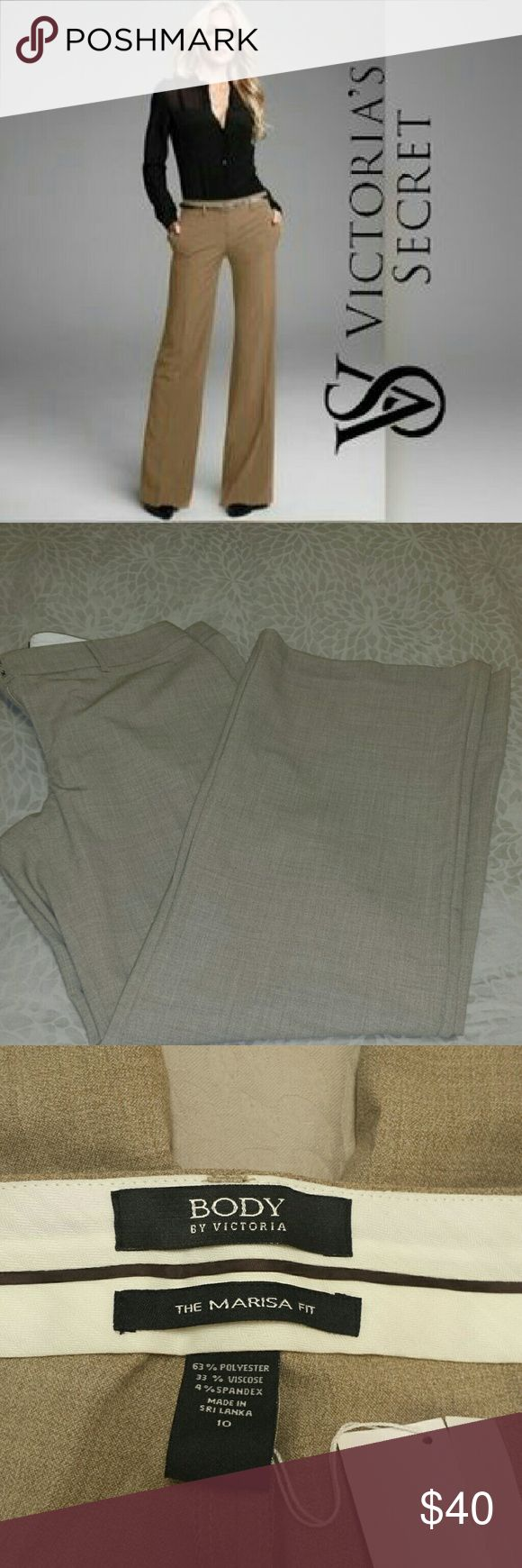 Body by Victoria the Marisa fit dress Slack nwt The Marisa Fit is an elongating pant that gives the illusion of a long & lean leg.? This pant sits slightly below waist & has an easy (relaxed & roomy fit) cut through both the thighs and legs.? This is the perfect pant to wear from the boardroom to cocktail hour with colleagues or friends.  Waist 16 in. across 32 in. inseam 9 ih front rise 15.5 in rear rise 11 in leg opening.  Thave never been worn and are brand new price tag is not still on…