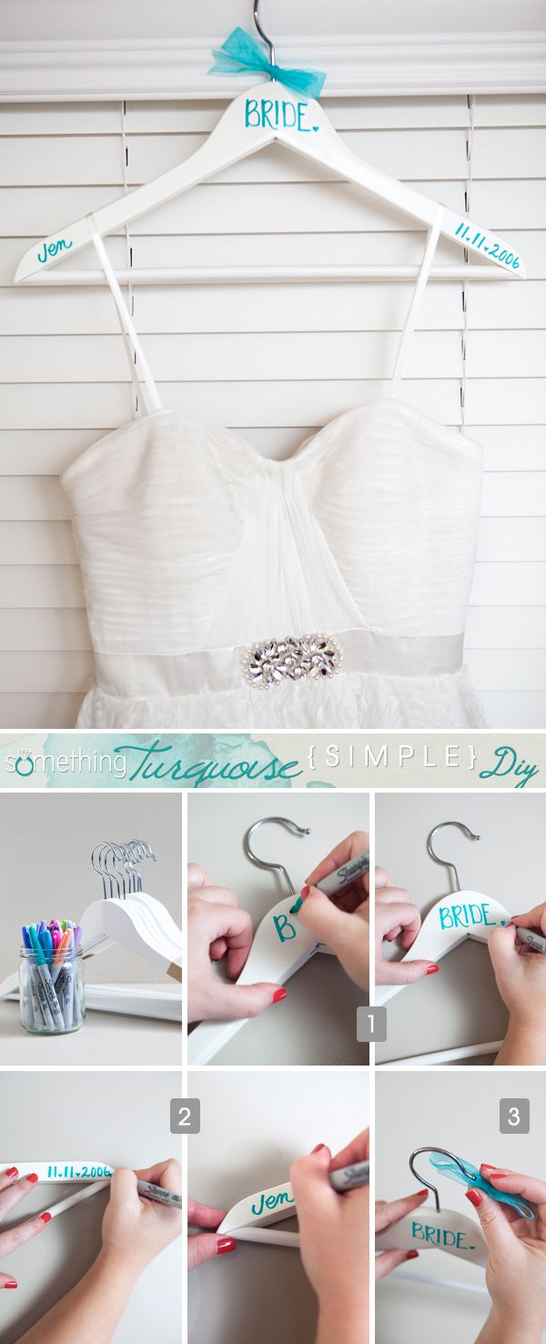 simple and creative diy wedding dress hangers
