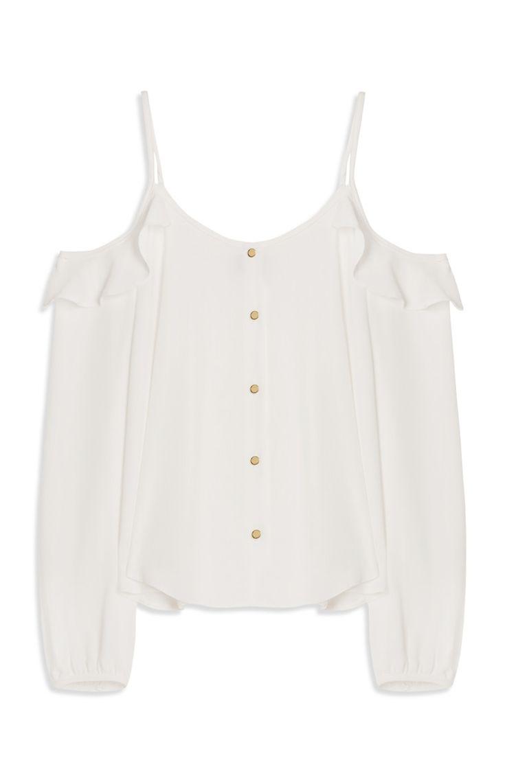 Primark - Wit topje met open schouders 13