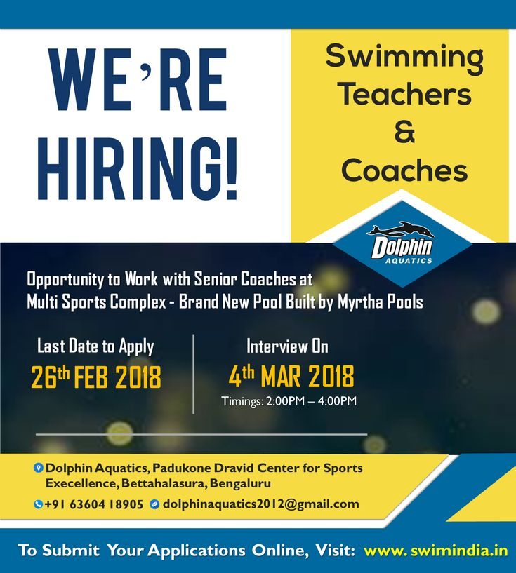 Dolphin Aquatics is Hiring for the role of Swimming Teachers and Coaches!  An Opportunity to Work with Senior Coaches at Multi-Sports Complex - Brand New Pool built by Myrtha Pools  To Apply Online Visit:https://goo.gl/pMWKQp  #SwimIndia #jobs #swimcoach