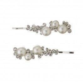 Elegant pearl and diamante hair slides