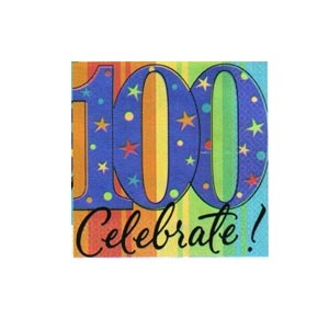 """""""100th"""" Ultra Beverage Napkins (A Year to Celebrate) 16/pkg"""