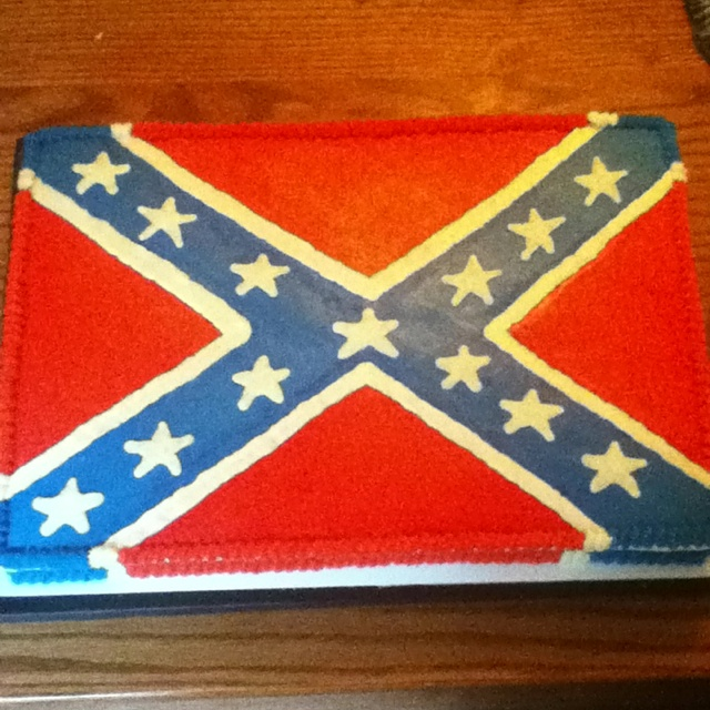 Rebel flag cake except with one corner grass with buck & doe standing