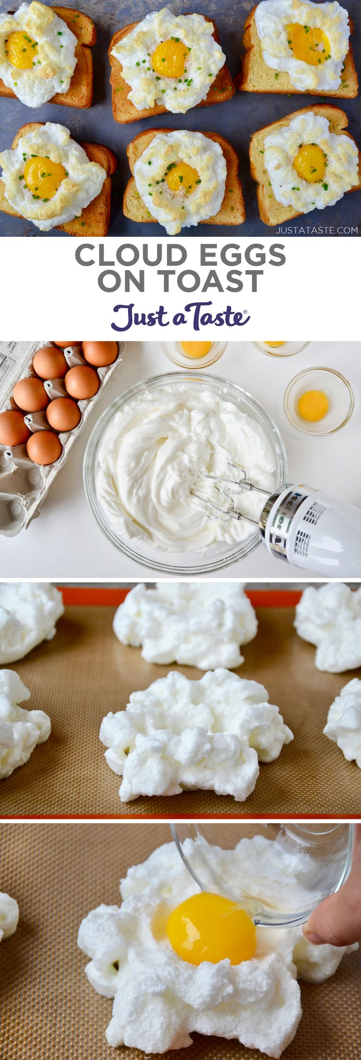 Cloud Eggs on Toast recipe from justataste.com #cloudeggs