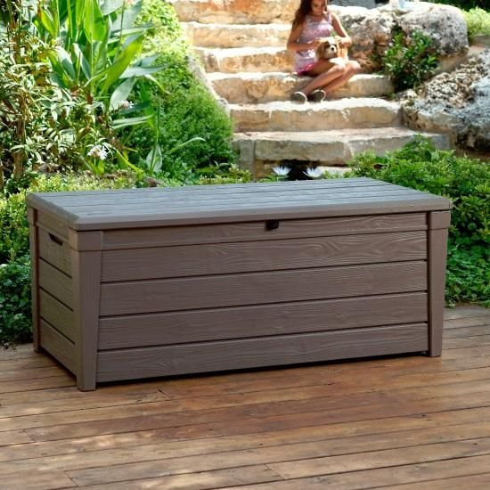 Keter Brightwood Plastic Garden Storage Box with Seat - 455 Litre Capacity - Keter - Garden Buildings Direct £95
