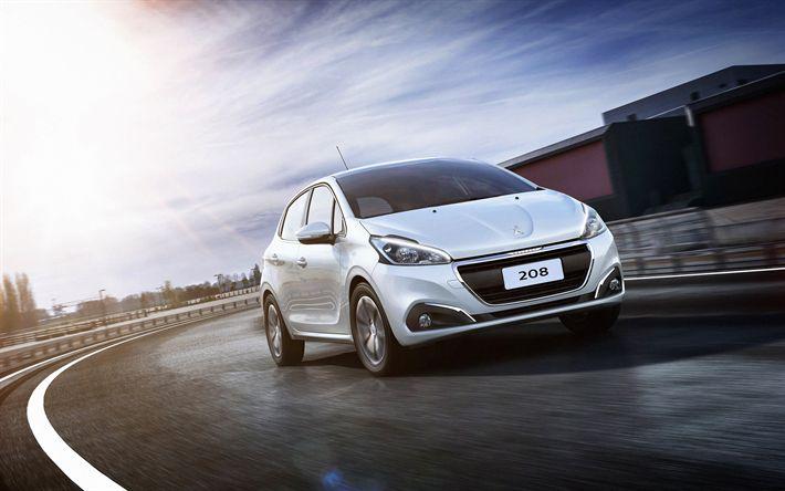 Download imagens 4k, Peugeot 208, movimento, 2018 carros, branco 208, francês carros, Peugeot