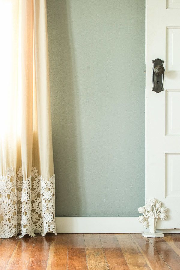 DIY idea- lace on curtain panel