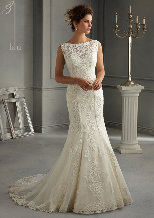 Bridal Dress From Blu By Mori Lee Dress Style 5262 Patterned Embroidery Design on Net over Satin Slip Dress
