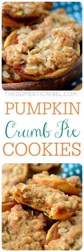 Pumpkin Crumb Pie Cookies: delightfully crisp and chewy cookies that taste JUST like gooey pumpkin pie but with a glorious buttery spiced crumb topping! Only a few ingredients and so EASY to make!