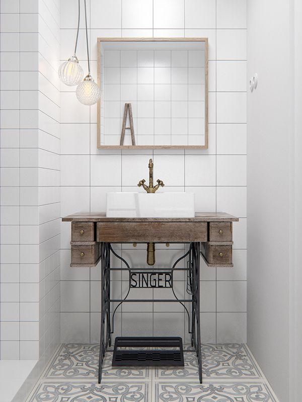 vintage sewing machine desk - Small Space Solutions: Hacks to Upgrade Your Compact Bathroom Vanity