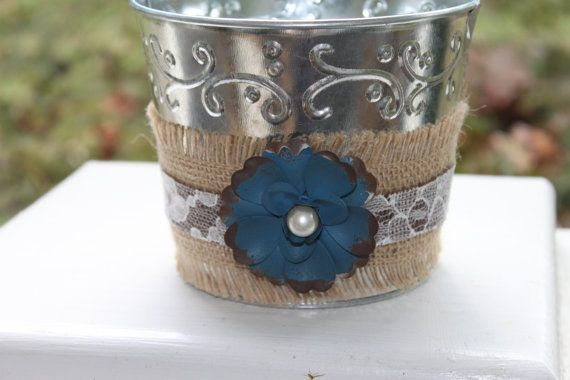 Hey, I found this really awesome Etsy listing at https://www.etsy.com/listing/206659468/flower-and-burlap-tin-pail