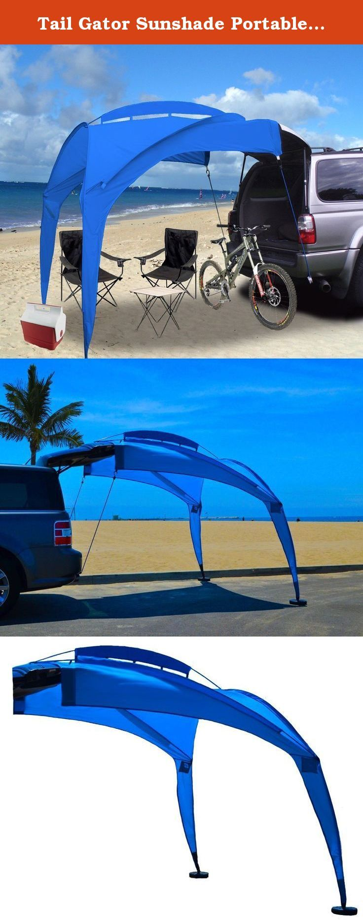 Tail Gator Sunshade Portable Shade - Blue. The Tail Gator Sunshade® is perfect for chillin' out and enjoying life at the beach, tailgating or fishing your favorite spot. It is quickly assembled, simpler than a tent, and provide a well needed extension of your vehicle for those sunny days when you want to stay cool. The Tailgator attaches to the top of your car roof, or to the ledge of the 5th door of your SUV. It can be assembled on a hard (parking asphalt) or a soft surface (dirt or…