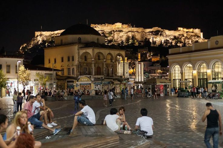 Summer night below the Acropolis..