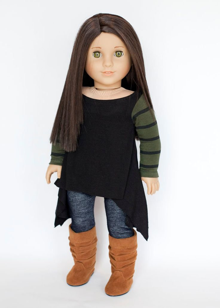 American Girl Doll outfit twirly tunic, leggings, and boots - black, army green, striped, blue denim knit by EverydayDollwear on Etsy