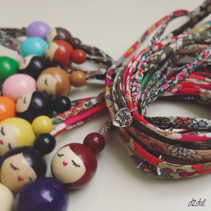 Handpainted wooden bead dolls ~ Liberty London and Lecien fabric necklaces