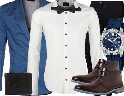 Lässiges Businessoutfit mit tollen Hinguckern! #hemd #fliege #blau