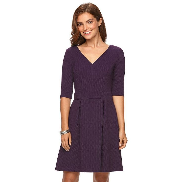 Women's Chaps Textured Fit & Flare Dress, ...
