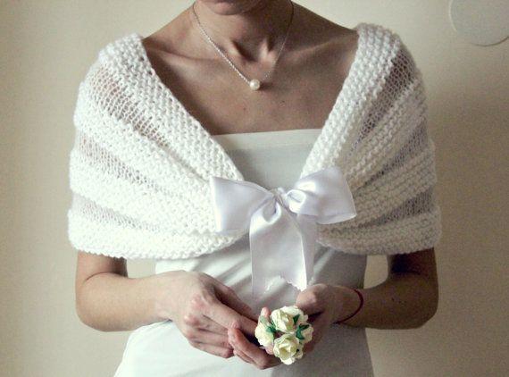 Matrimonio romantico bianco avvolgere da sposa scialle, sposa bianco avvolgere scrollata di spalle Bolero, donna maglia Capelet, a mano a maglia bianco avvolgere scrollata di spalle