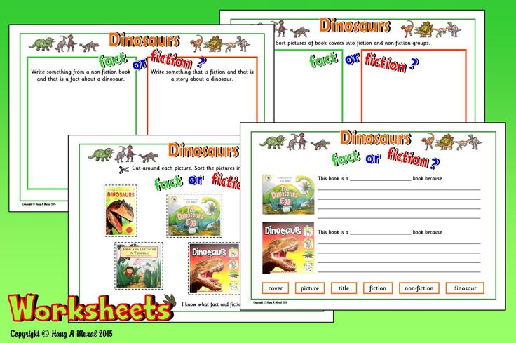DINOSAURS WORKSHEETS Free sample download at www.hang-a-mural.co.uk  Recognising different types of texts: sort dinosaur book covers into fiction & non-fiction categories (cut & paste); provide examples of fiction & non-fiction text; explain in writing differences between fiction & non-fiction book covers. Introduce the topic with the 'Dinosaurs' PowerPoint & look at these activities (including suggested answers) before completing worksheets independently