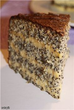 "Рецепт ""Нежный маковый торт""Recipe ""Gentle poppy cake"" This looks so luscious I will try to make translation is rough but this looks so worth it!"
