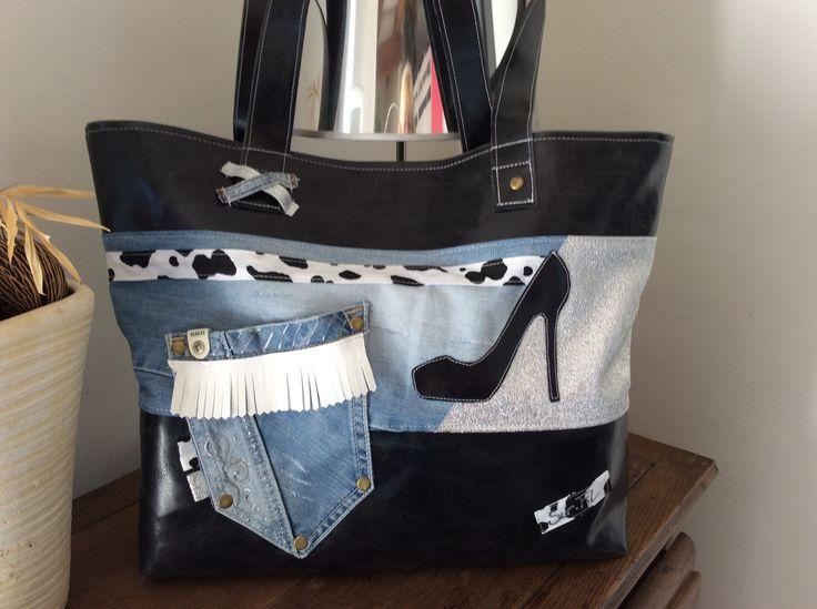 """Sac """"Beautycity """" en jean et simili : Sacs à main par sur-fil"""