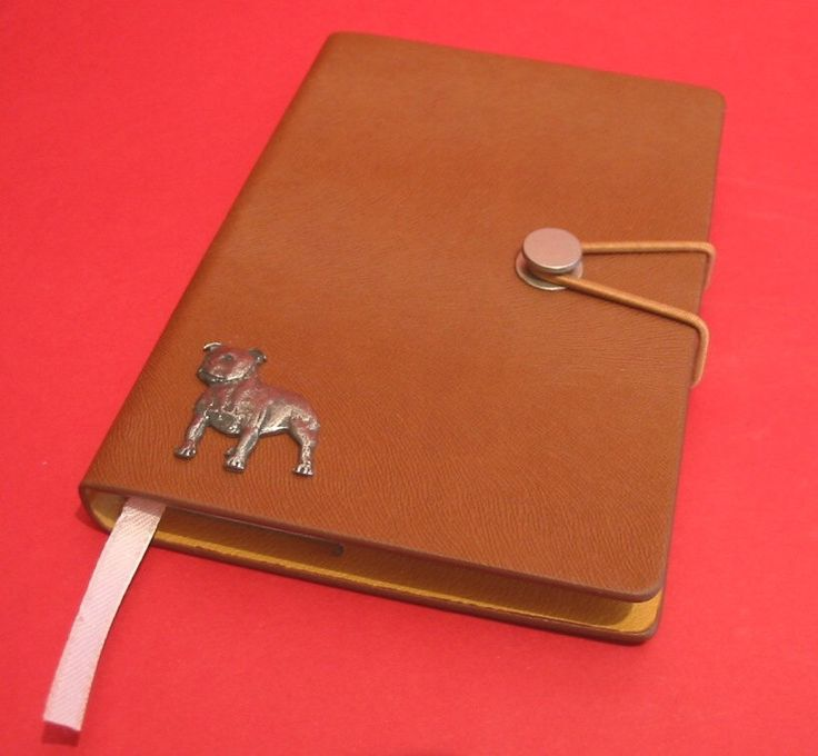 Staffordshire Bull Terrier Hand Cast Pewter Motif on A6 Note Book Father Mother Staffie Gift by ThimblesnObjectDart on Etsy https://www.etsy.com/listing/241582031/staffordshire-bull-terrier-hand-cast
