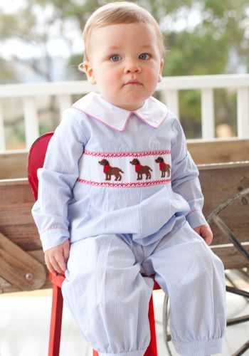 Smocked Chocolate Lab Bubble Boys Long Sleeved With A